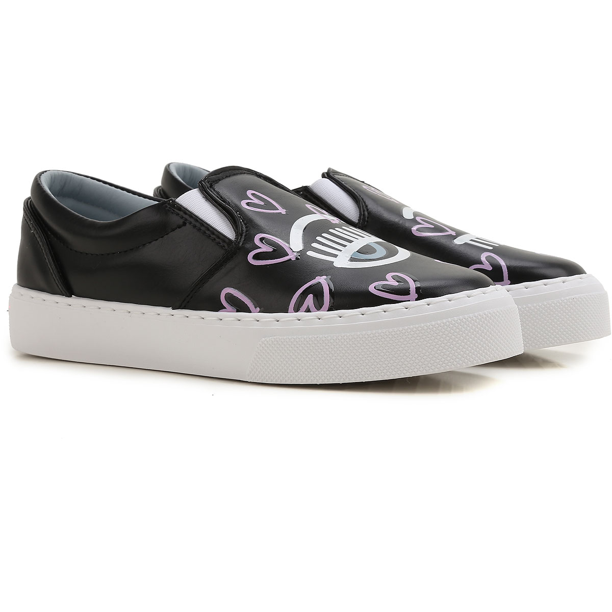 Black With Pink Slip On Shoes With Elastic