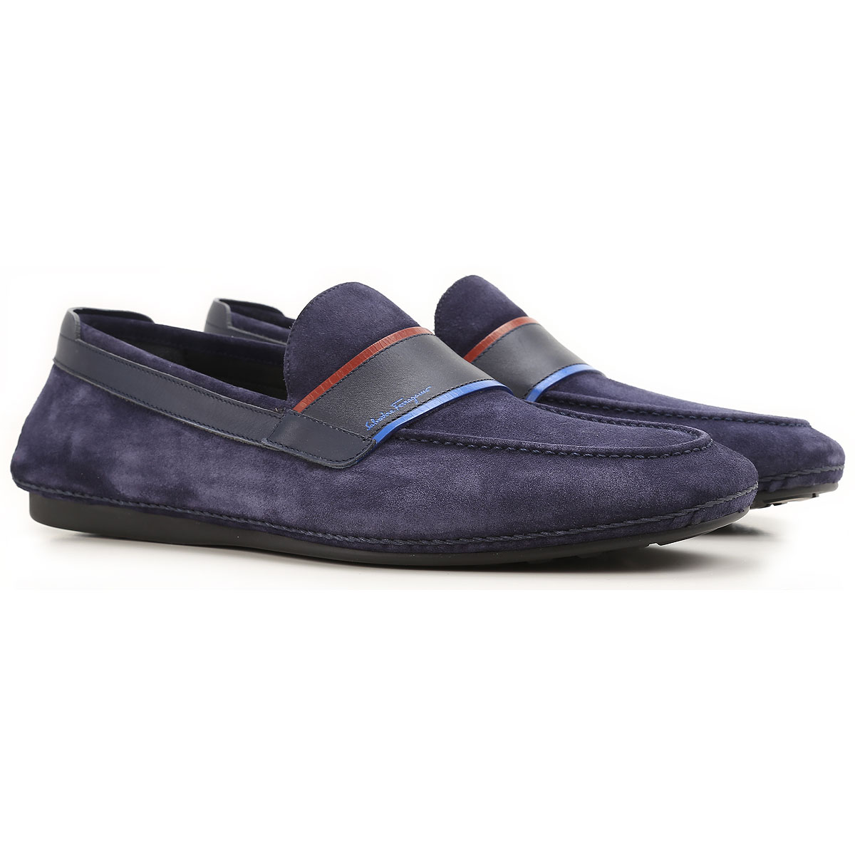 Ferragamo Blue Shoes Mens Leather
